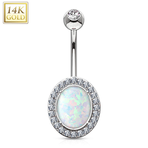 *Pre-order* Opal Center with Clear CZ Frame Solid 14KT Gold Navel *Pre-order*