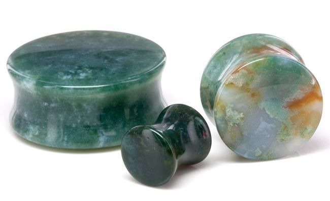 Green India Agate Plugs