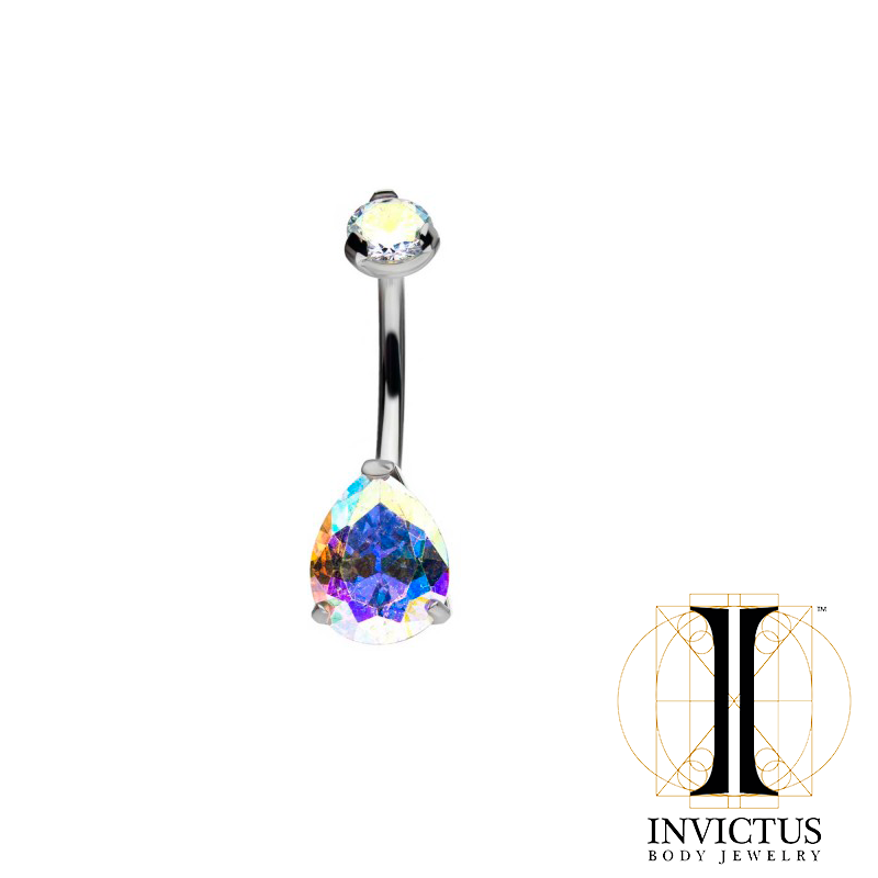 Titanium Double CZ Gem 3-Prong Teardrop Navel Curve