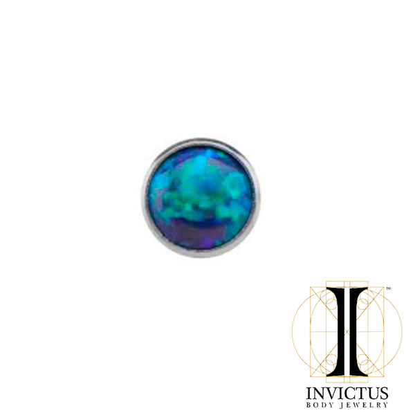 14g Titanium Bezel Set Synthetic Opal Disc