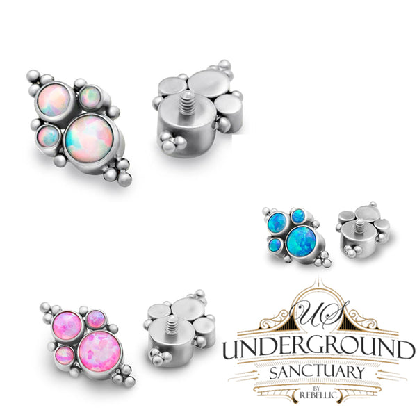 Internally Threaded Quad-Cluster Opal Titanium