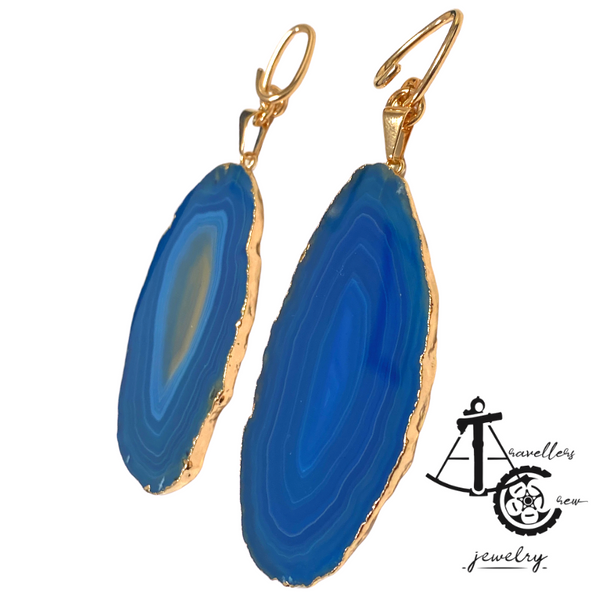 Earrings with AGATA (Pair)