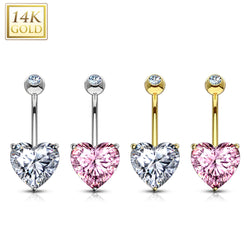 *Pre-order* - Heart 14 Karat Solid Gold Navel Jewelry