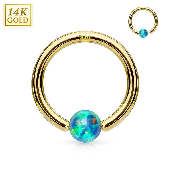 14kt. Captive Bead Ring With Opal Bead