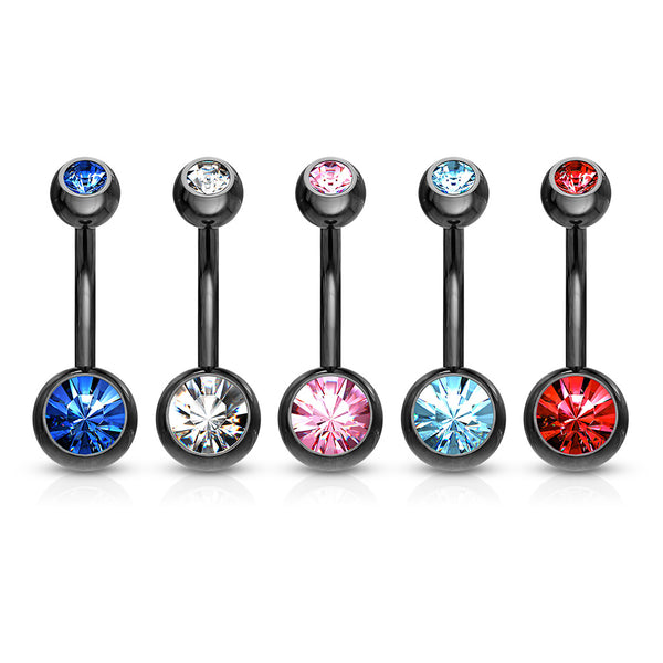 Black Titanium Plated Over Stainless Steel Navel Jewelry 3pcs.