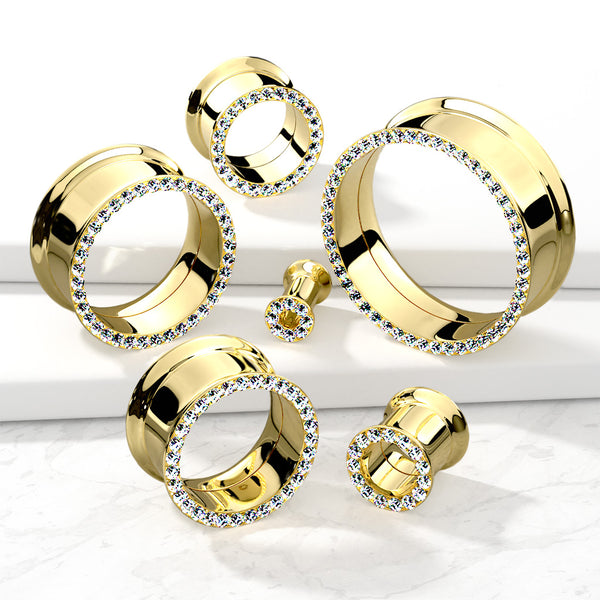Gemmed Rim Gold Double Flared Tunnel
