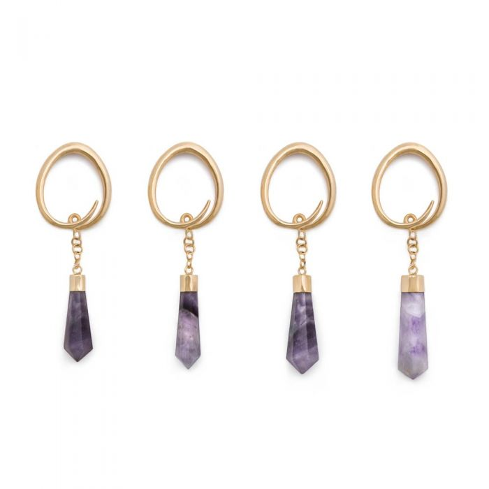 Amethyst Gold Plated Ovate Spiral Earrings