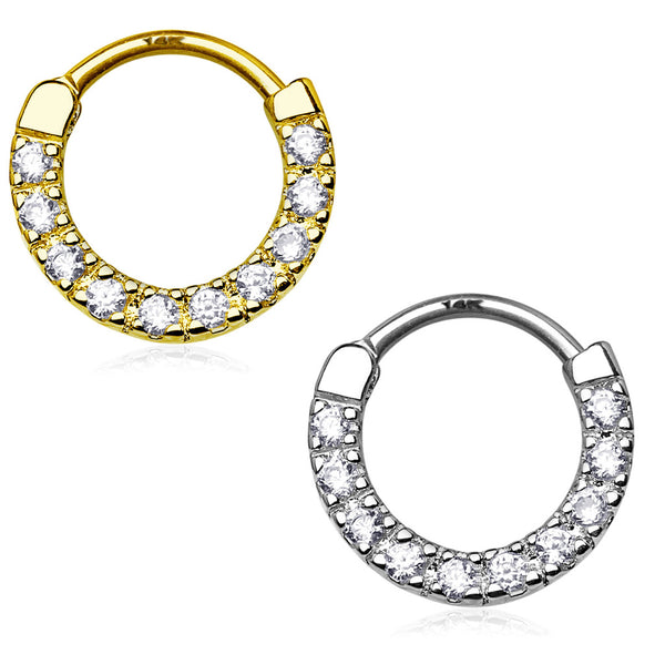 Ten Paved CZ Single Line 14Kt Gold Septum Clicker