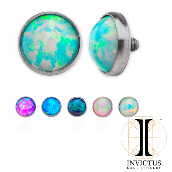 16g Titanium Bezel Set Synthetic Opal Disc
