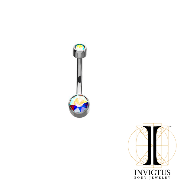 Titanium Bezel Set Double Swarovski Crystal Navel Curves