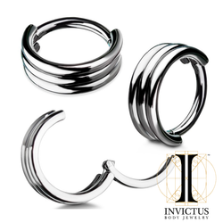 16g Titanium Triple Stack Hinged Segment Rings
