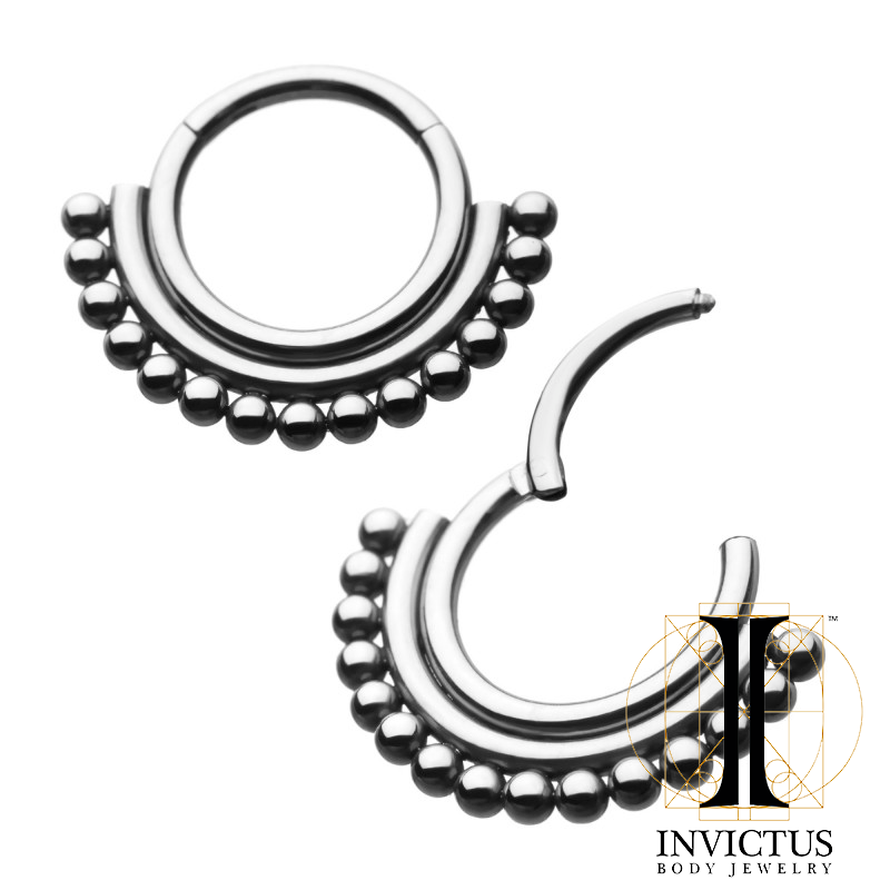 16g Titanium 15 Beads Hinged Segment Ring