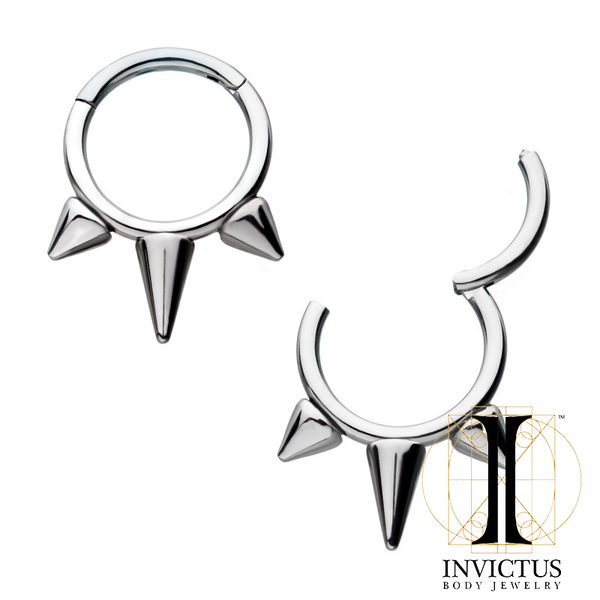 16g Titanium 3-Spike Hinged Segment Rings