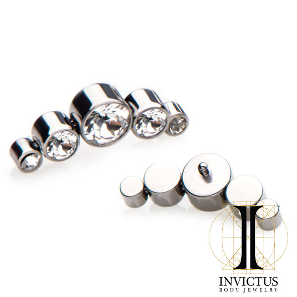 Titanium 5-Swarovski Gem Cluster Threaded Tops