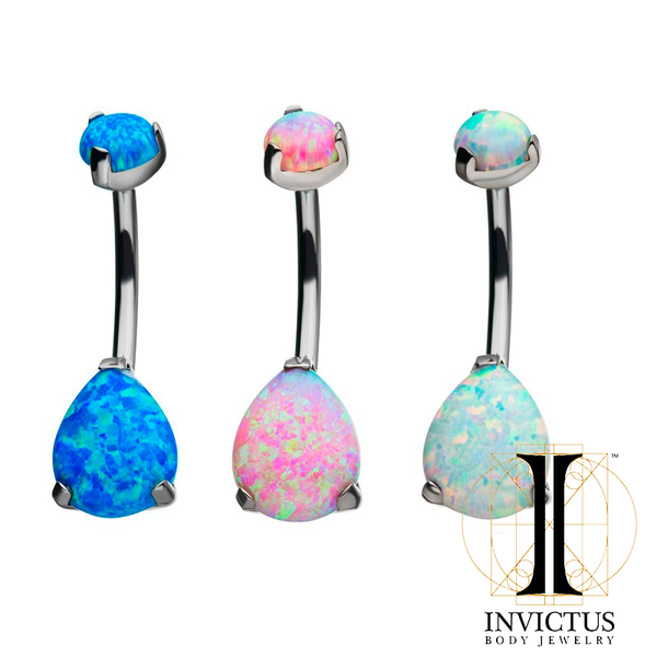 Titanium Double Opal 3-Prong Teardrop Navel Curve