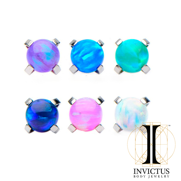 16G Titanium Prong Set Syntetisk opal top