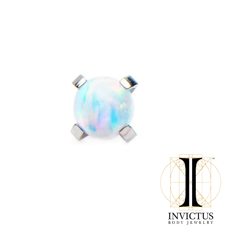 14g Titanium Prong Set Synthetic Opal