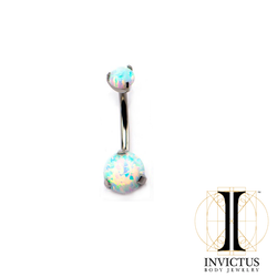 Titanium Prong Set Double Synthetic White Opal Navel Curves
