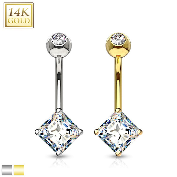 14 Karat Solid Gold Navel Jewelry with Square Princess Cut CZ