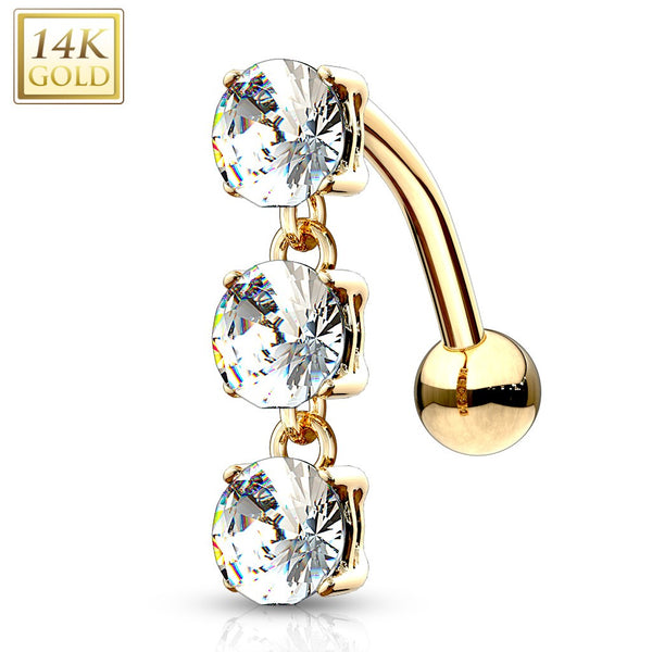 *Pre-order* - 14 Karat Solid Gold Top Down Triple CZ Stones Dangle Navel Jewelry