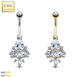 *Pre-order* - Pear CZ with Cascading Oval CZ Cluster 14 Karat Solid Gold Navel Jewelry
