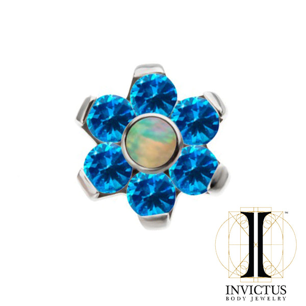 16g Internally Threaded Bezel Set White Synthetic Opal and CZ Gem Flower