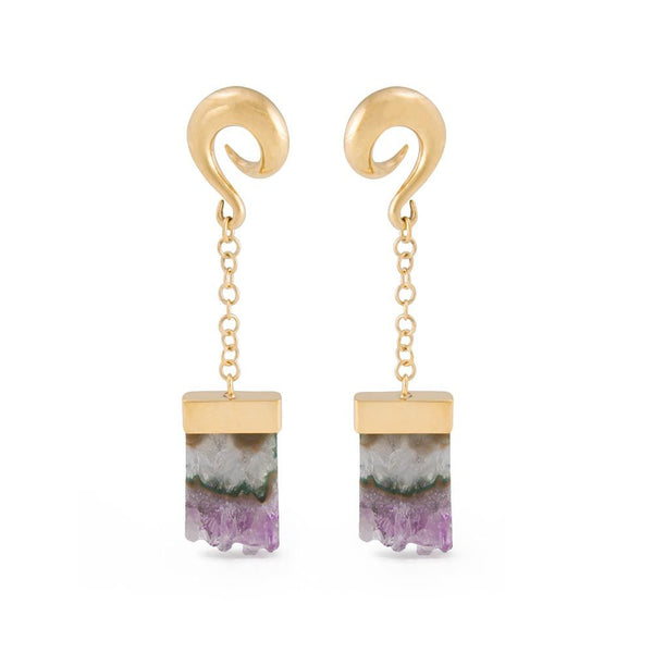 Amethyst Waterfall Gold Plated Spiral Plug Earrings
