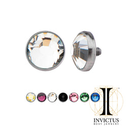 14g Titanium Bezel Set Preciosa Gem Jeweled Discs