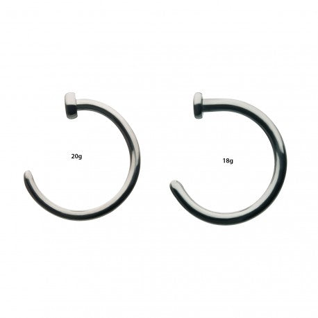 Titanium Flat Back Half Hoop Nose Ring