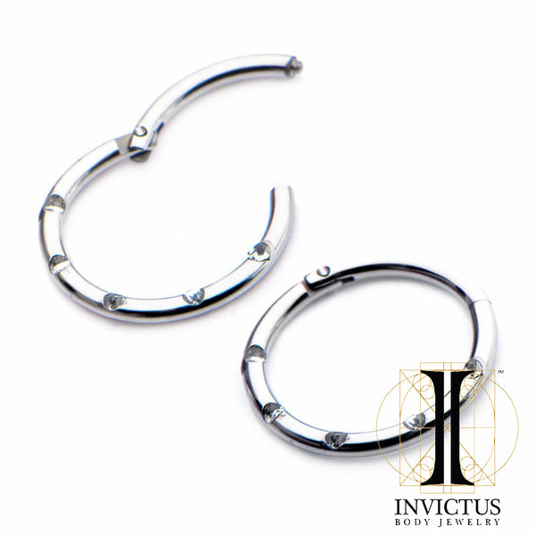 16g Titanium Hinged Segment Rings with Five Clear Gems