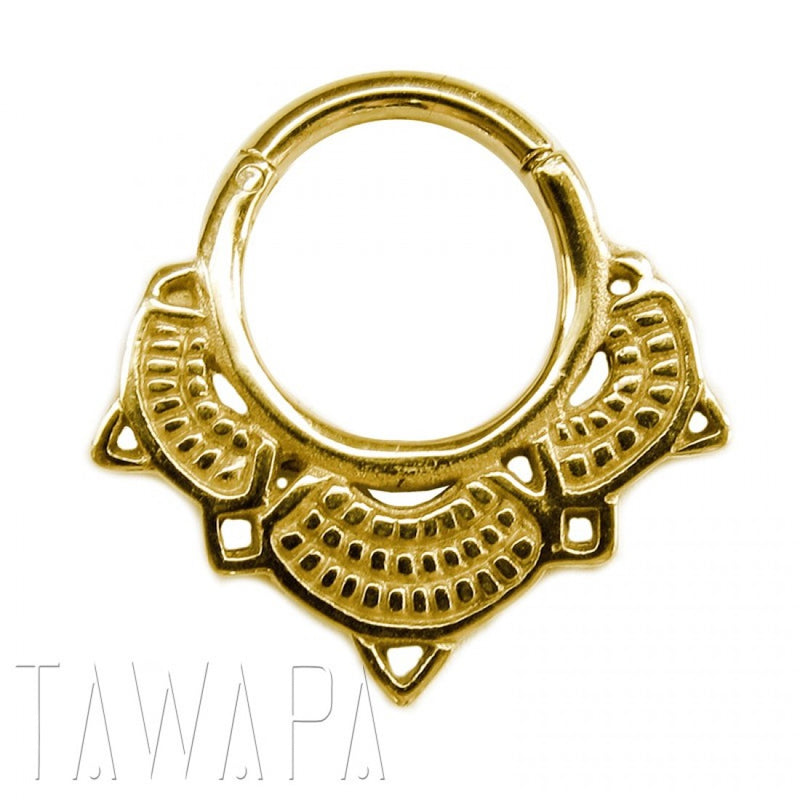 GOLD PLATED LOTUS SEPTUM RING MEDIUM DIAMETER