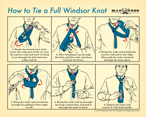 How to Tie a Full Windsor Knot Poster [PRINT ON DEMAND]
