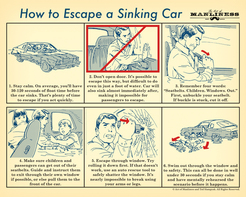 How to Escape a Sinking Car Poster [PRINT ON DEMAND]