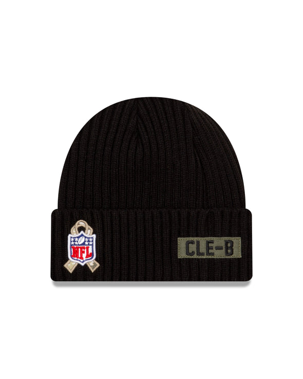 New Era NFL Cleveland Browns Black 2020 Salute to Service Sideline Knit