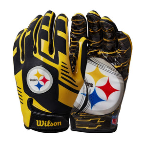 Youth NFL Stretch Fit Receivers Gloves - Pittsburgh Steelers