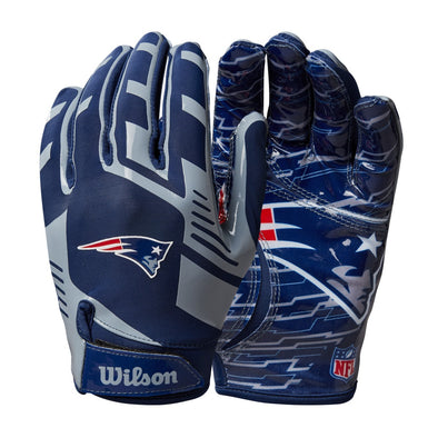 Youth NFL Stretch Fit Receivers Gloves - New England Patriots