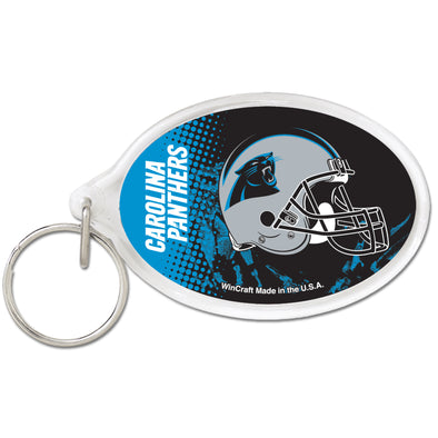 Acrylic Key Ring Oval Carolina Panthers