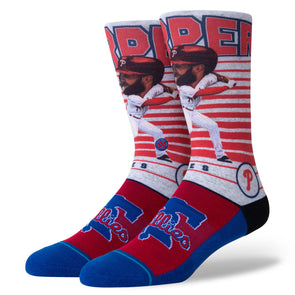 Stance Men's MLB Philadelphia Phillies Bryce Harper Big Head Socks