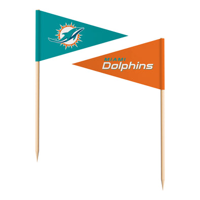 Sports Vault NFL Miami Dolphins Toothpick Flags 36 Pieces