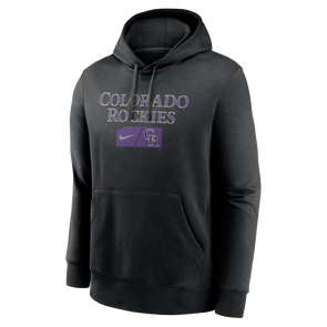 Men's Colorado Rockies Nike Black Team Lettering Club Pullover Hoodie