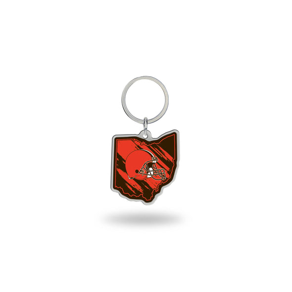 State Shaped Key Chain Cleveland Browns