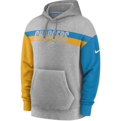 Men's Los Angeles Chargers Nike Grey Heritage Tri-Blend Pullover Hoodie