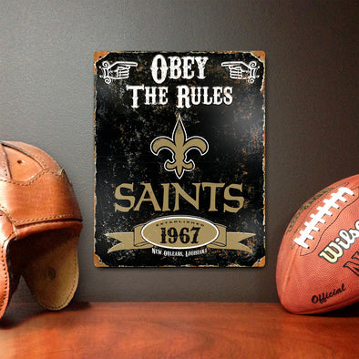 New Orleans Saints Embossed Metal Sign