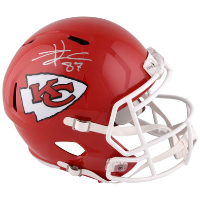 Travis Kelce Kansas City Chiefs Autographed Riddell Speed Replica Helmet