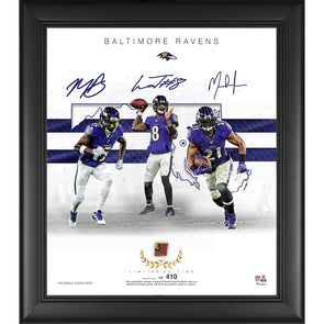"Balitmore Ravens Limited Edition Framed 15"" x 17"" Collage with a Piece of Game Used Football"