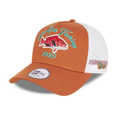 New Era Fishing Brown A-Frame Trucker Cap