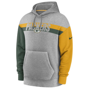 Men's Green Bay Packers Nike Grey Heritage Tri-Blend Pullover Hoodie