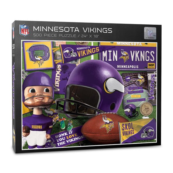 YouTheFan NFL Minnesota Vikings Retro Series Puzzle - 500 Pieces