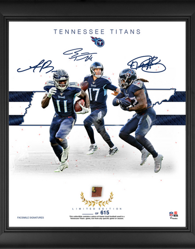 "Tennessee Titans Limited Edition Framed 15"" x 17"" Collage with a Piece of Game Used Football"