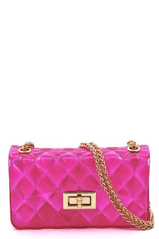 Gel Crossbody Bag-Neon Pink